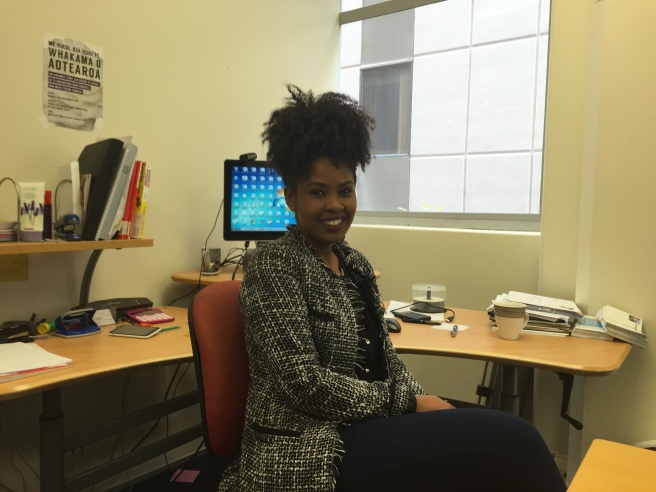 Melishu Azanaw, originally from Ethiopia, works as a women's advocate at Shakti in Wellington.